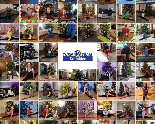 Spagat-Challenge vorm Weihnachtsbaum
